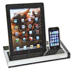 Sleek dock charges your iPad, iPhone and iPod without cords.