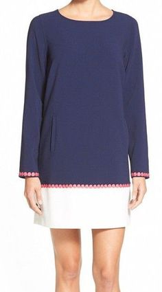 Vinyard Vines Crepe Color Block Dress Nautical Navy White Hot Pink Long Sleeve #vineyardvines #Shift #Casual