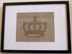 Burlap Wall Art  Crown   8 x 10 by SweetBennett on Etsy, $11.00