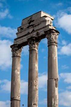 The 3 remaining columns and entablature from the Temple of Castor and Pollux (484BC) in the Roman Forum.   Picfari.com