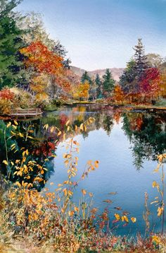 Autumn Lake (watercolor by William Mangum)