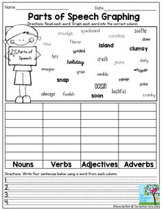 Parts of Speech Graphing- Graphing Grammar! Circle and write each word in the correct column: nouns, verbs, adjectives and pronouns. Summer Review NO PREP Packet for 3rd Grade!