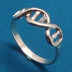 Sale Silver Science Biology DNA Ring DNA Helix por yhtanaff