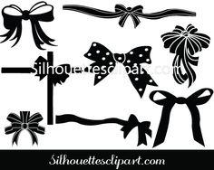 Christmas Ribbon Vector Clip Art Pack - Silhouette Clip Art