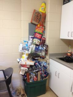 """And, finally, this game of trash Jenga: 