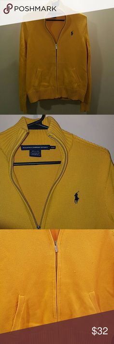 Polo zip jacket Gold zip jacket, with braided pattern down should to sleeve.  Royal blue pony. Has a few pills, shown in 3rd pic. Pretty thick sweater Ralph Lauren Sweaters