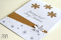 Kartka handmade biała eco ze śnieżynkami na Boże Narodzenie