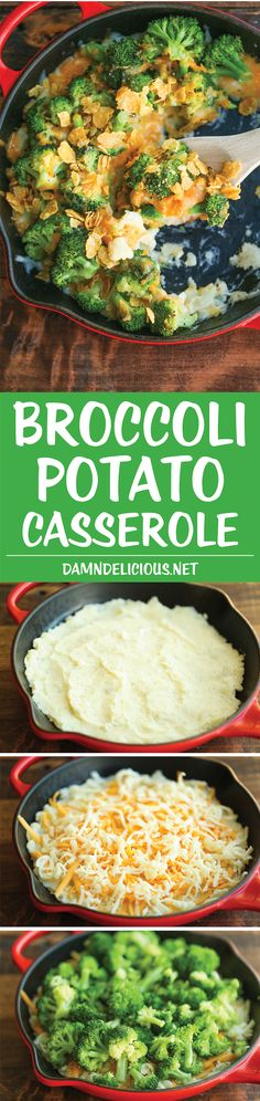 Side Recipe: Broccoli and Potato Casserole - So hearty, comforting and cheesy! Makes for a perfect easy side dish or even a quick weeknight entree with added chicken! Side Recipes, Vegetable Recipes, Vegetarian Recipes, Cooking Recipes, Healthy Recipes, Easy Recipes, Amazing Recipes, Dinner Recipes, Potato Casserole