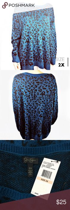New!  Blue Leopard Jessica Simpson Sweater Brand new with tags! Gorgeous Jessica Simpson blue leopard crew neck sweater. Size 2X. Retails for 69. Jessica Simpson Sweaters Crew & Scoop Necks