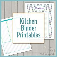 A kitchen binder is a great tool to use to keep recipes and meal planning tools organized and ready. The kitchen binder printables will get you started. Menu Planning Printable, Printable Planner, Free Printables, Meal Planning, Daily Planning, Free Planner, Planner Ideas, Printable Cards, Household Notebook
