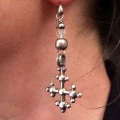 """Silver, rock crystal, Ethiopia   Description  An adorable pair of earrings with the symbols of Coptic crosses from the first African Christians ...   Weight:2 x 5gr  Height:2,36 inch www.halter-ethnic.com...see.""""My Lucky Finds"""""""