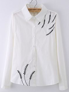 Lapel Leaves Embroidered Blouse 2019 clothing clothing labels clothing patches clothing wholesale flower clothing fly shirts shirts for ladies shirts sunshine coast style clothing tee shirts clothing Sommer Garten Hochzeits Kleider Embroidery On Kurtis, Hand Embroidery Dress, Kurti Embroidery Design, Hand Embroidery Videos, Embroidery On Clothes, Flower Embroidery Designs, Embroidery Suits, Embroidered Clothes, Embroidered Blouse