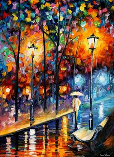Warm Winter  PALETTE KNIFE Landscape Oil by AfremovArtStudio
