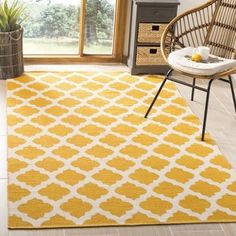 Charlton Home Romona Hand-Knotted Cotton Yellow/Ivory Area Rug Rug Size: Square Transitional Decor, Quatrefoil, Rug Cleaning, Online Home Decor Stores, Woven Rug, Colorful Rugs, Rug Size, Area Rugs, Contemporary