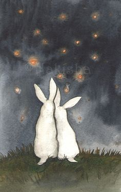 White rabbits illustration by Nakisha Rabbit Illustration, Illustration Art, Rabbit Pictures, White Rabbits, Rabbit Art, Bunny Art, Stargazing, Painting & Drawing, Watercolor Art