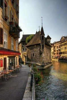 """Annecy Haute Savoie France - great place for a glass of wine and watching the water """"traffic. more with healing sounds: Around The World In 80 Days, Places Around The World, Travel Around The World, Around The Worlds, Wonderful Places, Great Places, Places To See, Beautiful Places, Annecy France"""