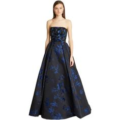 Oscar de la Renta Embroidered Photographic Floral Silk-Satin Jacquard... ($9,595) ❤ liked on Polyvore featuring dresses, gowns, floral print evening gown, floral-print dresses, sequin evening gowns, blue sequin gown and flower print dress