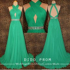 Custom Made Halter Strap Prom Dress,Backless Prom Dress,Chiffon Prom Dress,Green Prom Dress Gown