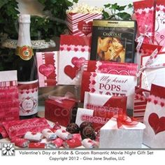Valentine's Movie Night Gift Basket Idea for Couples.  Romance starts with dinner, and a movie later at home. Make this a memorable and romantic night for couples, bride and groom, or husbands who need some pampering!
