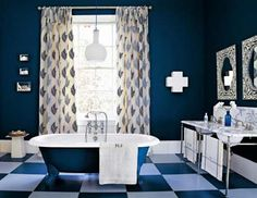 Fancy Blue Bathroom Color Idea Paired with Checkered Floor Tile also White Vanity Design Navy Blue Bathroom Decor, Dark Blue Bathrooms, Small Bathrooms, White Bathroom, Bathroom Wall, Bathroom Storage, Bathroom Color Schemes, Bathroom Paint Colors, Bad Inspiration
