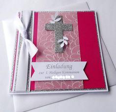 Diese bezaubernde Einladung zur Heiligen Kommunion (auch zur Konfirmation oder Firmung möglich) besticht durch typische Mädchenfarben wie pink und silberglitzer und dem Sonderformant 14,5 x 14,5...
