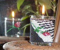 Piano Rose Candle Holder : Beading Patterns and kits by Dragon!, The art of beading.