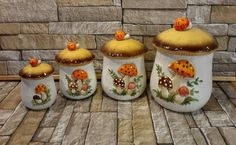 Merry Mushroom Canisters Mushroom Canister Set 4 by OurVintageNest