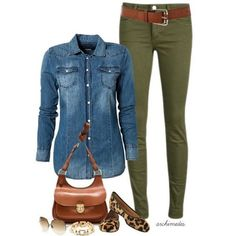 Casual yet chic : denim shirt with olive pants Denim Shirt Outfits, Colored Jeans Outfits, Colored Pants, Outfit Jeans, Mode Outfits, Casual Outfits, Casual Friday Work Outfits, Casual Wear, Skirt Outfits
