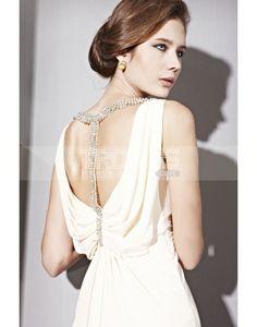 Robe de Soirée-elegant empire de mousseline de soie drape perlant la robe de soiree longue beige