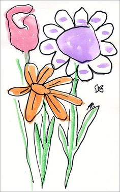 Art Projects for Kids: Paint and Trace Watercolor Flowers