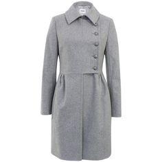 Farhi By Nicole Farhi Weekend D0a14 Pale Grey Melange Coat ❤ liked on Polyvore