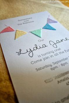 Diy birthday invitations modern cheap could use for any diy birthday bunting invitations rainbow pastel birthday theme my grandest adventure filmwisefo