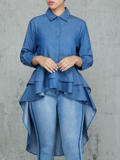 Denim Layered Flounced Dip Hem Blouse Women's Online Shopping Offering Huge Discounts on Dresses, Lingerie , Jumpsuits , Swimwear, Tops and More. Denim Blouse, Shirt Blouses, Shirts, Blouse Dress, Denim Fashion, Estilo Fashion, Women's Fashion, Latest Fashion, Pattern Fashion