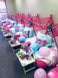 Camp snooze party for kamille – Artofit Birthday Sleepover Ideas, Kids Sleepover, 10th Birthday Parties, Slumber Parties, Kids Spa Party, Teepee Party, Doll Party, Pajama Party, Lol