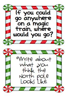 First Grade Snippets Questions hanging on wall on big sheets of paper to look like train cars; kids write answersQuestions hanging on wall on big sheets of paper to look like train cars; Polar Express Crafts, Polar Express Book, Polar Express Activities, Polar Express Theme, Kindergarten Writing, Teaching Writing, Writing Activities, Writing Prompts, Writing Topics