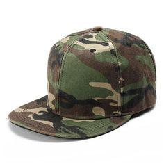 d678857e36e Men Women Camo Camouflage Flat Baseball Cap Hip Hop Hat