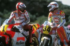 Wayne Rainey and Kevin Schwantz (Czech GP 1993) I grow up watching these two go at it every Sunday morning, good times.