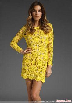 lindos vestidos de croche com graficos com mangas longas amarelo