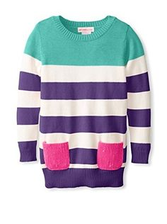 Design History Girl's Stripe Tunic With Sequin Pockets (Mint Chip)
