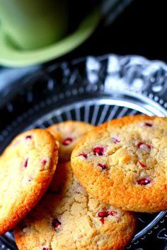 Pomegranate, rose & white chocolate cookies by Deena Kakaya