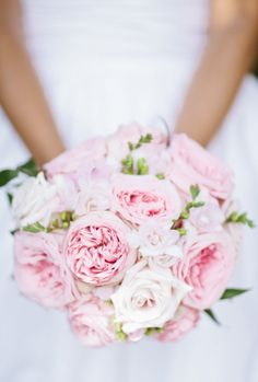Soft pink cabbage roses: http://www.stylemepretty.com/2015/04/14/20-pastel-bouquets-for-the-bride/
