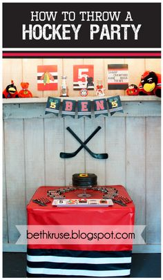 Hockey Party Custom Name and Age banner by Beth Kruse Custom Creations  A fun and creative accessory perfect for any hockey fans birthday party!