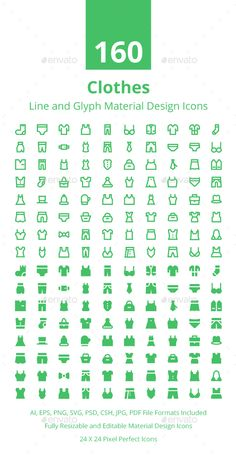 160 Clothes Material Design Icons Vector EPS, AI Illustrator