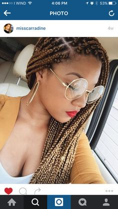IG: @misscarradine Protective style: Box Braids Light Brown Box Braids  These are beautiful & I want mine to look just like these! I love them!!