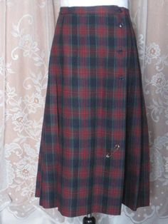 Vintage Tartan Plaid Wool Kilt Wool skirt by by jonscreations