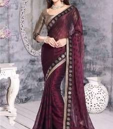 Buy Wine printed brasso  saree with blouse with blouse brasso-saree online