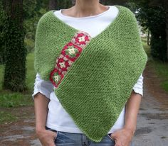 Green Poncho with Afghan Motifs Spring Fashion by bysweetmom, $69.00