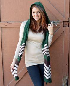Green Hooded Scarf www.daisyshoppe.com