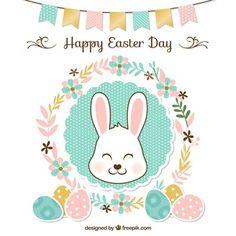 Fundo de Easter floral com festão e coelho bonito