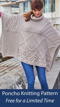 Free knitting pattern for sampler poncho. May only be free a limited time. Includes Diamond and Bobble Cable Panel, Flower and Bobble Panel, Cable and Moss Diamonds, Irish Moss stitch, Diagonal Stitch, Tuck Stitch, Bobble Cable Panel, and more. Designed by Sirdar. Chunky weight yarn. Yarn also available on pattern page. Poncho Knitting Patterns, Crochet Cardigan Pattern, Knitted Poncho, Free Knitting, Irish Moss, Moss Stitch, Free Pattern, Cable, Lisa